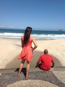 Picture perfect! Matt and Madeira on Sao Conrado beach