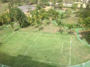 Hotel's soccer field and jogging track