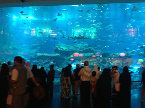Exterior  view of world's largest aquarium located in the mall. Also has a shark dive for the adventure seekers