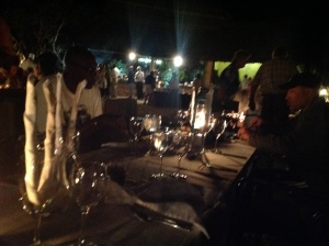 "Last night, dinner under the stars at the ""Boma"""