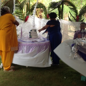 Unveiling of cake by  Ms Mavis and Gilda