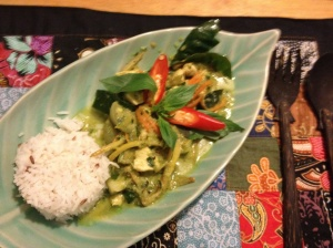 Green curry chicken prepared at cooking school