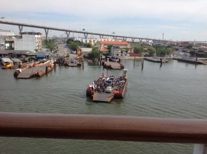 Leaving Bangkok---daily ferry crossings for motorbikes