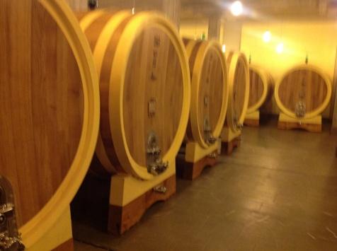 Oak Barrels at Winery