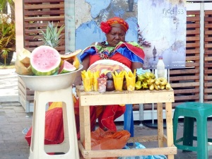 Palenque Woman in town With Colorful Costume