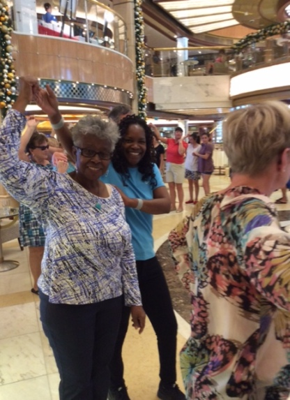 Maggie and Darlene line dancing on Royal Princess