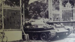 History- N. Vietnam Tank crashing Gate at Reunification Bldg April 30, 1975