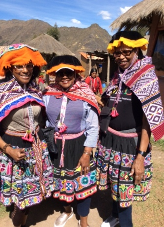 Dressed up like the locals in the Amaru Community