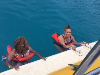 Charlotte and Toronda off the Boat