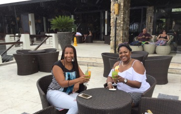 Jennifer and Traci W Enjoying a Drink Called No Worries