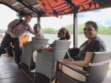 Our guide Tuyen, Mike, Lucille and Gail on Motorized Boat