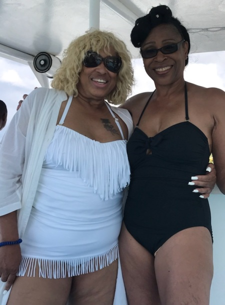 Kat and Sandra on the boat