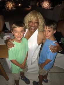 Simon's Twins, Simon and Jack, hangin with Kat at Dinner