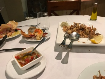 Soft shell crabs and Lobster Appetizers at Mistura