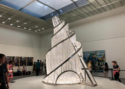 Fountain of Light, 23 ft High, glass crystals and steel