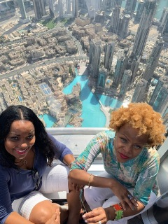 Katrina and Jan High in the Dubai Sky