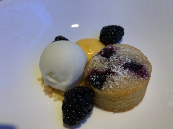 Blackberry and Almond Sponge with sorbet and Lemon Cyrd