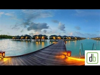 Water Bungalows at Dusk