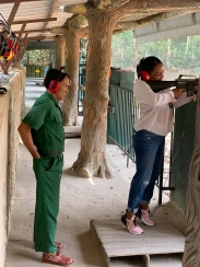 Katrina with M16 at the Cu Chi Tunnels