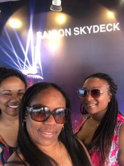 Adriane, Crystal and Antoinette at the Saigon Skydeck