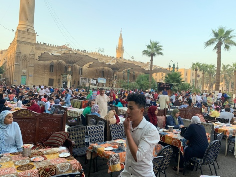 Al Hussein Mosque. In the Square for Iftar
