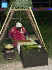 At the Spice Market Restaurant. Woman Preparing Breads