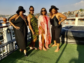 Deborah, Yvette, Barbara and Debra TJ- Relaxing on the cruise