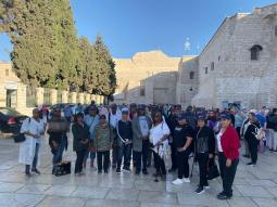 1/2 of the Group at Church of Nativity in Bethlehem